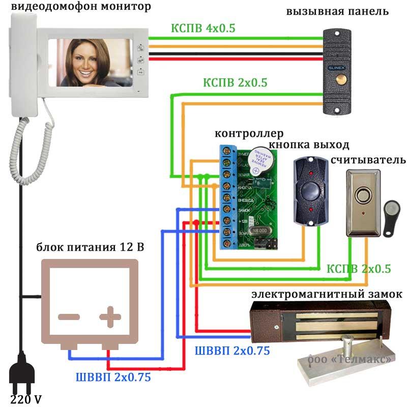 podklyuchenie-videodomofona-s-ehlektromagnitnym-zamkom